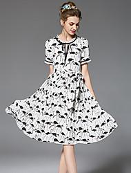 Trapèze Gaine Balançoire Robe Femme Sortie Décontracté / Quotidien Grandes Tailles Vintage simple Chic de Rue,Fleur Col Arrondi Mi-long