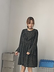Women's Casual/Daily A Line Dress,Floral Print Round Neck Knee-length Long Sleeve Cotton Summer Mid Rise Micro-elastic Medium