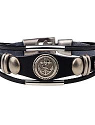 Муж. Кожаные браслеты Панк Хип-хоп Rock бижутерия Мода Винтаж Кожа Сплав Круглый Круглой формы Геометрической формы Бижутерия Назначение