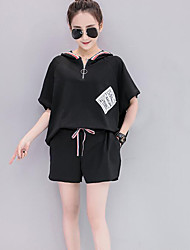Women's Casual/Daily Sports Simple Summer T-shirt Pant Suits,Solid Hooded Short Sleeve