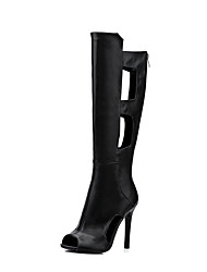 Mujer Botas Gladiador TPU Primavera Verano Casual Vestido Gladiador Cremallera Tacón Stiletto Negro 10 - 12 cms