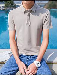 Herren Solide Muster Einfach Normal Polo,Stehkragen Sommer Kurzarm Baumwolle Mittel