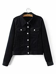 Women's Dailywear Others Spring/Fall Jacket,Striped Stand Long Sleeve Regular Bamboo Fiber