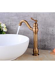 Contemporâneo Conjunto CentralVálvula Cerâmica Monocomando e Uma Abertura for  Cobre Antigo , Torneira pia do banheiro