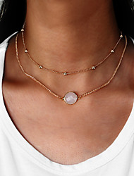 Women's Choker Necklaces Round Acrylic Alloy Euramerican Fashion Double-layer Jewelry For Daily 1pc