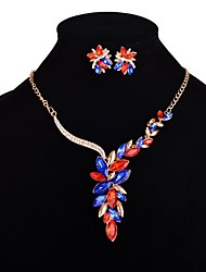 Women's Jewelry Set Acrylic Euramerican Fashion Luxury Alloy Flower Necklace Earrings For Party 1 Set Wedding Gifts