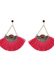 Fashion Women Stone Set Fan Fabric Tassel Drop Earrings