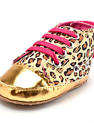 Newborn Baby Girls' Kids' Sneakers First Walkers Synthetic Fabric Fall Winter Party & Evening Dress Casual Leopard Animal Print Gore Flat Heel Gold