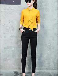 Mujer Sencillo Casual/Diario Trabajo Primavera Camisas Pantalón Trajes,Escote Chino Un Color Manga Larga Microelástico