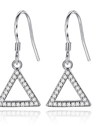 Drop Earrings Elegant Classic Triangle Silver Rhinestone Lady Daily Party Movie Gift Jewelry