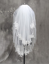 Bride Bridesmaids White / Ivory Wedding Veil Two-tier Fingertip Veils Cut Edge Tulle Netting