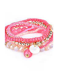 Lureme Women's Bohemian Beads Shell Charms Multi Strand Textured Bracelet Set-Lt