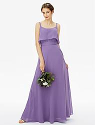 2017 LAN TING BRIDE Floor-length Spaghetti Straps Bridesmaid Dress - Open Back Sexy Sleeveless Chiffon