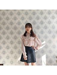 Feminino Camisa Social Férias Fofo Primavera,Sólido Algodão Colarinho Chinês Manga Longa Leve Transparência