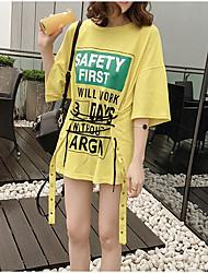 Damen Buchstabe Einfach Lässig/Alltäglich T-shirt,Rundhalsausschnitt ½ Länge Ärmel Baumwolle