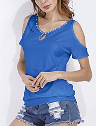 Tee-shirt Femme,Couleur Pleine Sortie Décontracté / Quotidien simple Sophistiqué Toutes les Saisons Manches Courtes Col ArrondiCoton