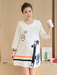 Women's Casual/Daily A Line Dress,Solid Round Neck Knee-length Short Sleeve Silk Summer Low Rise Micro-elastic Semi-opaque