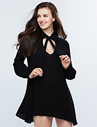 Women's Ruffle|Boho Going out Casual/Daily Simple Street chic Sheath Dress,Solid Round Neck Above Knee Long Sleeve Rayon Fall Winter Mid Rise