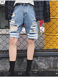 Men's Mid Rise Micro-elastic Jeans Shorts Pants,Simple Wide Leg Solid