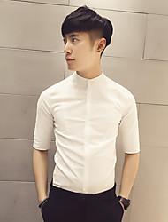 Herren Solide Einfach Hemd,V-Ausschnitt ½ Länge Ärmel Baumwolle