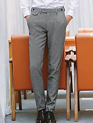 Masculino Simples Cintura Média Micro-Elástica Chinos Calças,Delgado Sólido
