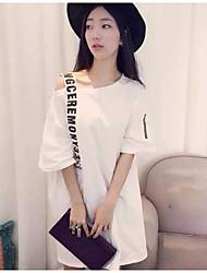 Courte Robe FemmeLettre Asymétrique Au dessus du genou Manches Courtes 90% Wool10% Polyester Eté Taille Normale Non Elastique Moyen