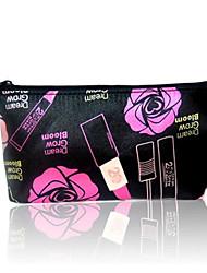 Women Cosmetic Bag PU All Seasons Baguette Zipper Black