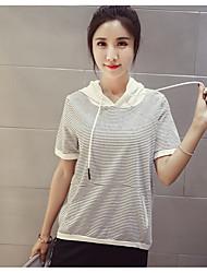 Damen Gestreift Einfach Alltag T-shirt,Mit Kapuze Kurzarm Baumwolle