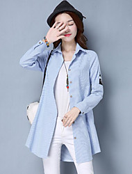 Women's Casual/Daily Simple Spring Trench Coat,Striped Shirt Collar Long Sleeve Long Polyester