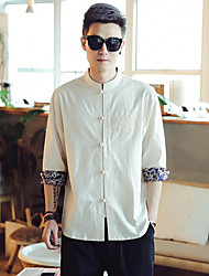 Men's Casual Simple Summer Shirt,Pattern Stand Short Sleeve Cotton