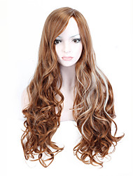 Hot Selling Brown To White Color Long Wave Women Wigs Heat Resisting Syntheitc Wigs