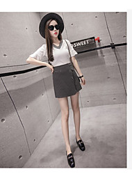 Women's Wedding Anniversary Magnetic Cat Eye Matte Spring T-shirt Skirt Suits,Solid Striped Round Neck 1/2 Length Sleeve