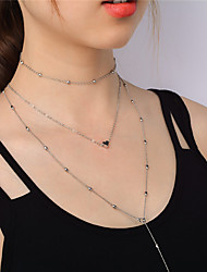 Women's Choker Necklaces Pendant Necklaces Chain Necklaces Jewelry Fashion Personalized Euramerican Copper Heart Necklaces ForParty