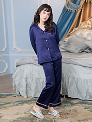Women's 2Pcs Home Suit Solid Color Long Sleeve Button-up Loose Sleepwear Set