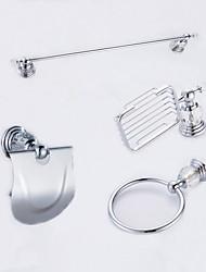 Mordern Diamonds 4PC Brass Bathroom Accessory Set Towel Bar Towel Ring Paper Holder Soap Dish