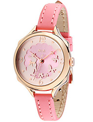 Women's Fashion Watch Japanese Quartz Water Resistant / Water Proof Leather Band White Pink