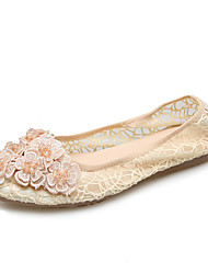 Women's Flats Comfort Light Soles Silk Spring Summer Outdoor Dress Casual Applique Beading Flat Heel Beige Black Flat