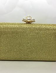 Вечерняя сумочка Металл Замок с защелкой Цвет шампанского Золотой Черный Серебряный