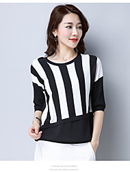 Damen Gestreift Einfach T-shirt,Rundhalsausschnitt Frühling Kurzarm Baumwolle Undurchsichtig