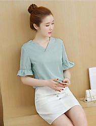 Damen Shirt Rock Anzüge,V-Ausschnitt Sommer Mikro-elastisch