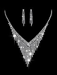 Femme Boucles d'oreille goutte Collier court /Ras-du-cou Nuptiales Parures Zircon cubique Mode Elegant Zircon Forme de Triangle Pour