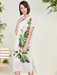 Dámské Běžné/Denní Volné Šaty Květinový,Krátký rukáv Kulatý Nad kolena Polyester Léto Mid Rise Neelastické Tenké