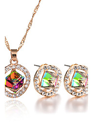 4 Colors New Fashion Elegant Charm Luxury Rhinestone Crystal Square Pendant Necklace Stud Earrings Jewelry Set Wedding Accessories