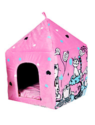 Cat Dog Bed Pet Baskets Cartoon Keep Warm Tent Blushing Pink