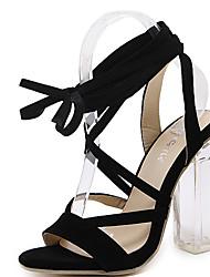 Damen Sandalen Vlies Sommer Schnürsenkel Blockabsatz Schwarz 10 - 12 cm