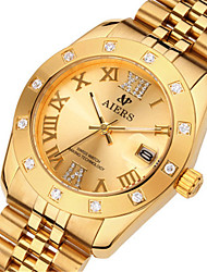 Men's Fashion Watch Quartz Calendar Water Resistant / Water Proof Alloy Band Brown Gold