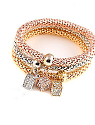 Women's Charm Bracelet Crystal Friendship Fashion Bohemian Crystal Alloy Circle Square Geometric Jewelry ForWedding Party Halloween