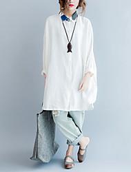 Damen Solide Einfach Ausgehen T-shirt,Hemdkragen Langarm Polyester