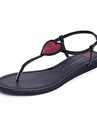 Damen Sandalen Komfort Leuchtende Sohlen PU Sommer Normal Komfort Leuchtende Sohlen Schwarz Flach