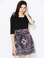 Women's Going out Street chic Loose Dress,Print / Patchwork Round Neck Above Knee ¾ Sleeve Black Cotton / Polyester Fall
